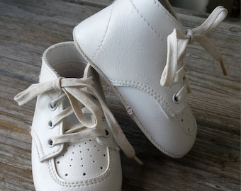 White Lace up Baby Shoes size  1