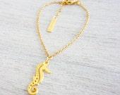 Tiny Seahorse Bracelet,  minimalist charm jewelry, girls children kids jewelry
