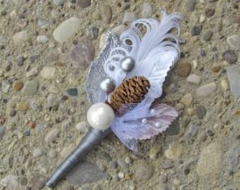 White & Silver Pine Cone Boutonniere