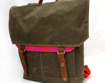 Electric Chocolate Wool & Waxed Canvas Backpack w/ Padded Straps