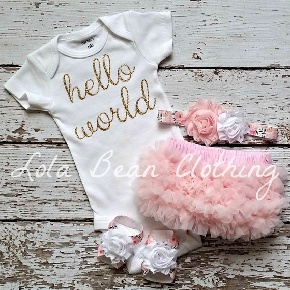 Baby Girl Take Home Outfit Newborn Baby Girl Hello World