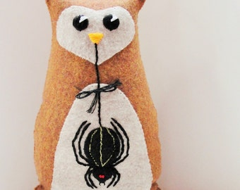 "Halloween felt owl- 8 inch stuffed owl with large black spider- ""boo!"", Ready to ship"