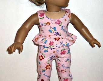 18 inch Doll Outfit,  Ruffled Tank Top, Matching Shorts, Pink Floral Leggings, Cotton, Summer, American Made, Girl Doll Clothes