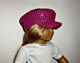 Hot Pink Sequin, Newsboy Hat, Biker Cap 18 Inch Doll, 15 Inch Doll, Accessories, American Made, Girl Doll Clothes