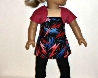 Pants Outfit, 18 inch Doll, Black Leggings, Rose Red Shrug, Bolero,  Cotton Blouse, American Made, Girl Doll Clothes