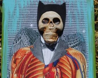mixed media skull art painting assemblage wall art collage art ceramic mask