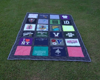 Twin XL Nearly Full Size Tshirt Quilt Custom made with 24 Tshirts