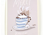 Merci Beaucoup  - Thank You Card Cat - Coffee Art