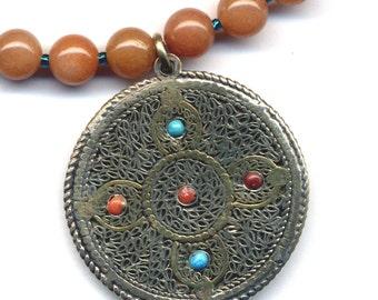 OOAK Mandala and Double Dorje  Orange Aventurine Necklace Good Luck  Talisman