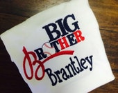 Big Brother Baseball Sports Shirt with custom personalization Navy Red