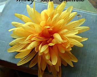 Yellow Mum Hair Clip Fascinator - ATS, Tribal Fusion, Belly Dance, Vegan, Pin Up, Wedding