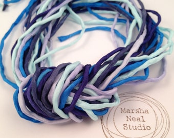Hand Painted 2mm Silk Ribbon Cords in Marsha Neal Studio Sky Blue Color Palette