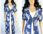 Vintage Blue and White Floral Long Dress. Front Buttons. Styleworks. Size 10. 1990s Dresses. Summer Rayon Dress. White Flowers. Short Sleeve