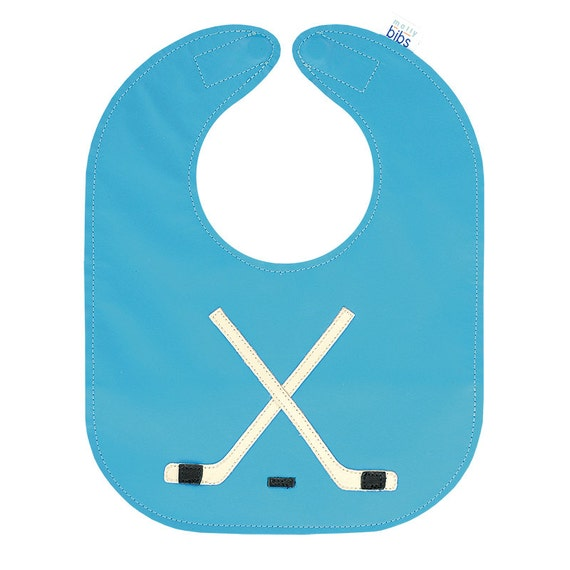 Leather Baby Bib, Reversible Bib with Pocket and Magnetic Closure, Hockey Design on Vivid Blue - baby or toddler size