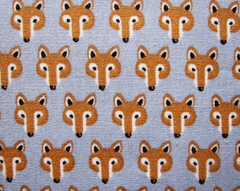 Japanese Cotton Fabric - Foxes on Gray - Fat Quarter - Sevenberry LIMITED YARDAGE