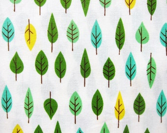 Japanese Fabric By The Yard - Leaves on White - Fat Quarter - Cosmo Textile LIMITED YARDAGE