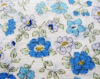 Japanese Cotton Linen Blend - Floral in Blue - Fat Quarter LIMITED YARDAGE