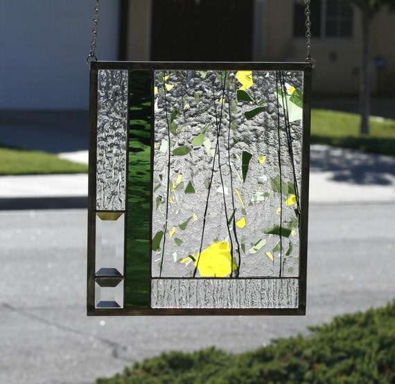 SUMMER - Abstract Stained Glass Window Panel, Stain Glass, Yellow, Green, Clear, Summer, Abstract, Flowers, Floral, Garden, Ready to Ship