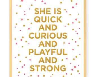 She Is Quick - Art Print - Inspirational Wall Art - Motivational - Gold - Typography - Fashion