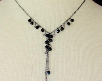 1928 Necklace Signed Y Black Rhinestone Vintage