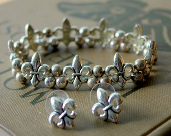 Vintage Bracelet and Earrings Set FLEUR DI LIS Silver Tone