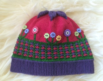 KNITTING PATTERN Hat Children's Clothing PDF Download - Flower Power