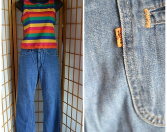 70s  Levis blue jean bell bottoms womens size medium mens size xsmall