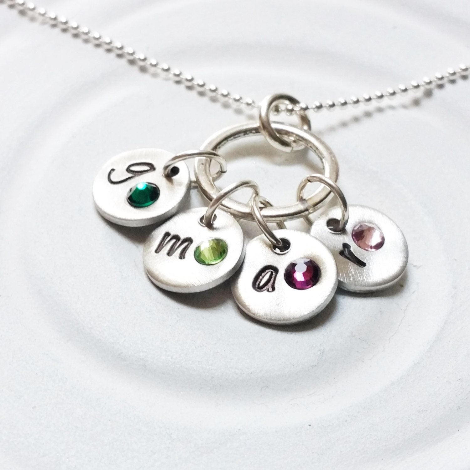 mother 39 s necklace personalized hand stamped birthstone. Black Bedroom Furniture Sets. Home Design Ideas