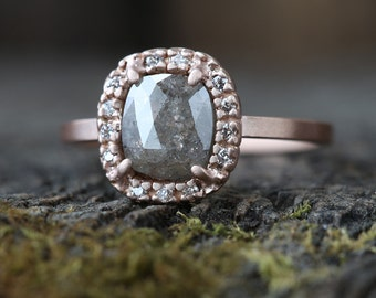 One of a Kind Natural Grey Diamond Ring with Pavé Halo