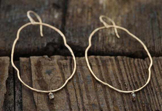 Organic Diamond Hoop Earrings