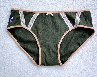 READY TO SHIP, Organic panties in forest green french terry, handmade lingerie
