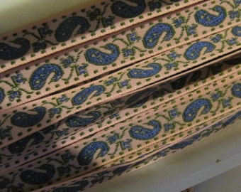Pink Blue Paisley Pattern Jacquard Ribbon Trim Narrow Woven Ribbon Wrights 5 Yds Bollywood India Style