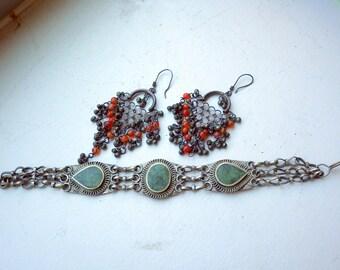Ethnic Dangling Earrings Silver + Sunstone Plus Bonus Bracelet