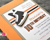 Hockey Birthday Party Invitations · A2 LAYERED · Black and Orange · Choose your team colors | NHL Jersey Inspired | Skate Party