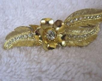 wonderful vintage barrette,  gold leaf branch