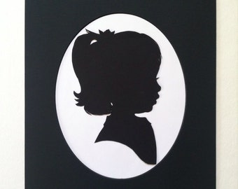 Medium 8x10 inch Custom Silhouette Portrait in a Black 11x14 Mat with Oval Cut Opening