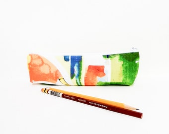 Pencil Case, Pencil Pouch, Medium Zipper Pouch,Cosmetic Bag, Pretty Pencil Case, Abstract Orange Blue Yellow Pattern