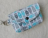 Small Snap Pouch w/ Key Clip .. Urban Zoologie Mini Owls in Sky