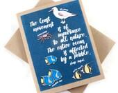 Fish Ocean Blank Card - Birthday, Greeting Card - Inspirational Gift Idea - Watercolor Painting Art - Handmade - Science, Biology, Marine