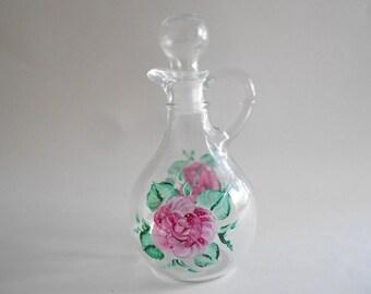 Pink Roses Vinegar Cruet Vinegar Bottle Vinegar Dispenser Vinegar Jar Handpainted Bottle Clear Glass Roses Kitchen