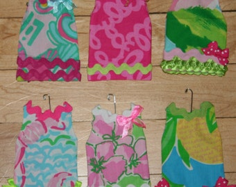 Shift Christmas Ornaments made with Lilly Pulitzer fabric