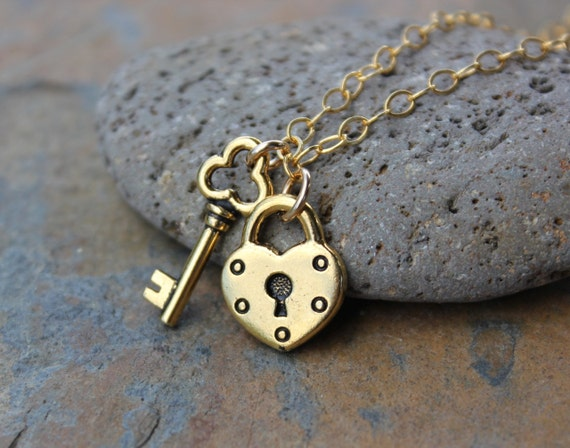 Key to my Heart necklace - 22k gold plated pewter heart lock and key charms on 14k gold filled chain - free shipping in USA