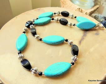 Turquoise and Black Southwestern Style Necklace, Turquoise and Silver Necklace, Native Style, Cowgirl Necklace, Handcrafted Jewelry