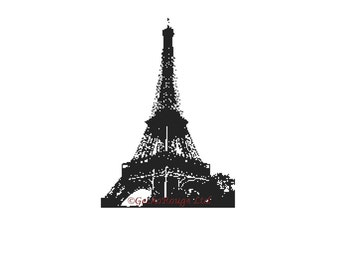 Cross Stitch Pattern, 'Color In Cross Stitch', Eiffel Tower Cross Stitch, PDF Pattern, Chart, Counted Cross Stitch, Emailed PDF, France