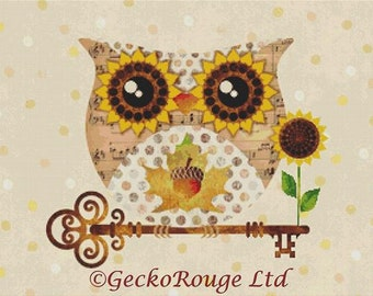 Owl Cross Stitch Kit By Sandra Vargas Buho Fall Owl  - Key Orange Bird Heart Sunflower