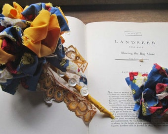 Fabric Flowers * Vintage Handmade Wedding Pom * Small Bridal Bouquet * Vintage Fabric Pom