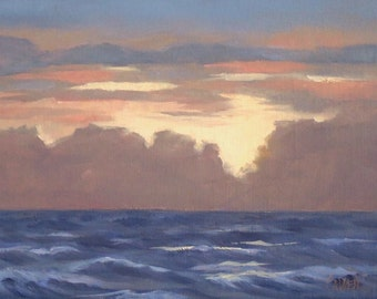 Light of Dawn II, 5x7 Oil Painting on Canvas, Original Daily Painting Seascape, Skyscape