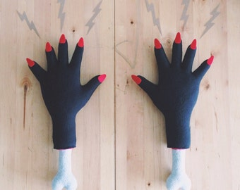 Severed Hand with Red Nails - Black