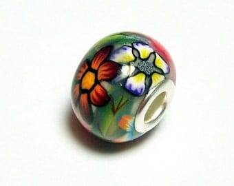 Large Hole Bead Handmade from Polymer Clay - Flower Garden Pattern