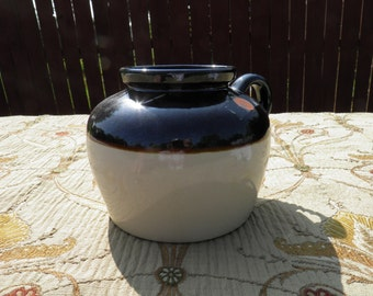 Bean Pot Crock No. 36 - Primitive Stoneware / Ceramic Pottery - 1940's - 1950's - Americana Pottery - 9 Cups